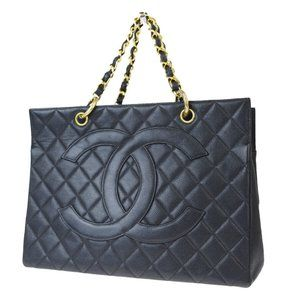 CHANEL CC Logo GST Quilted Chain Hand Bag Caviar L